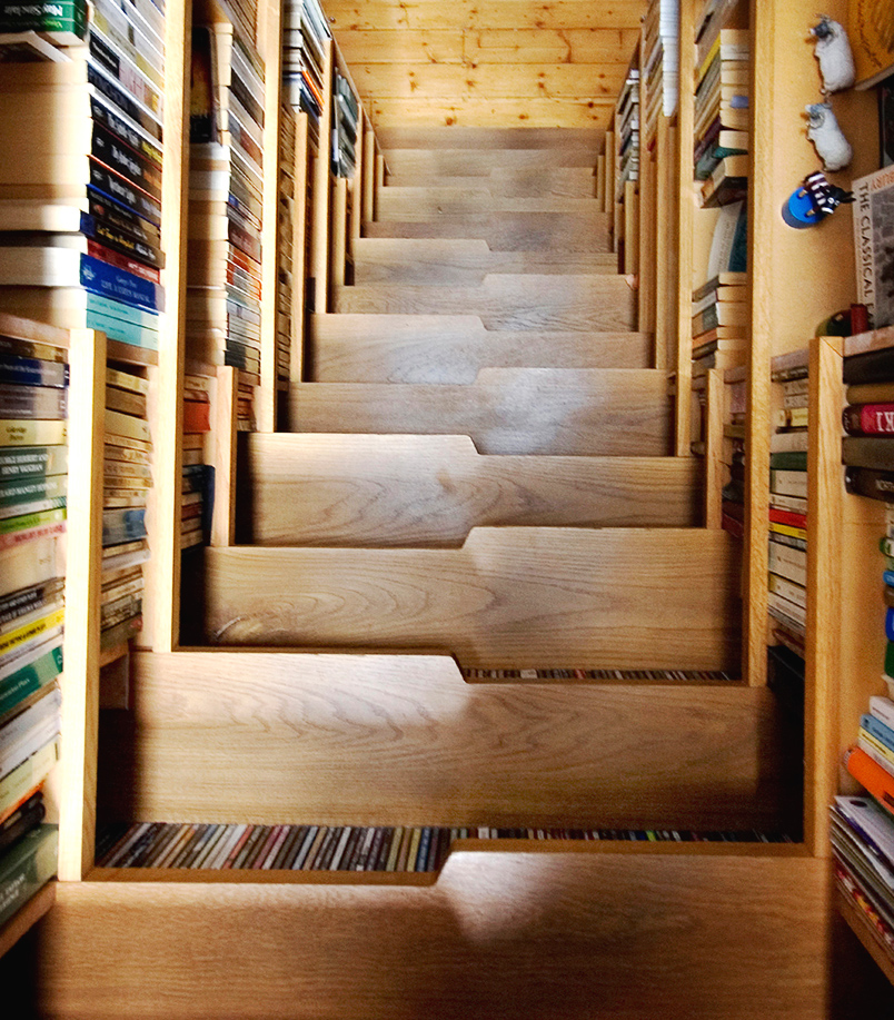 Top 70 Best Staircase Ideas: Bookcase Staircase