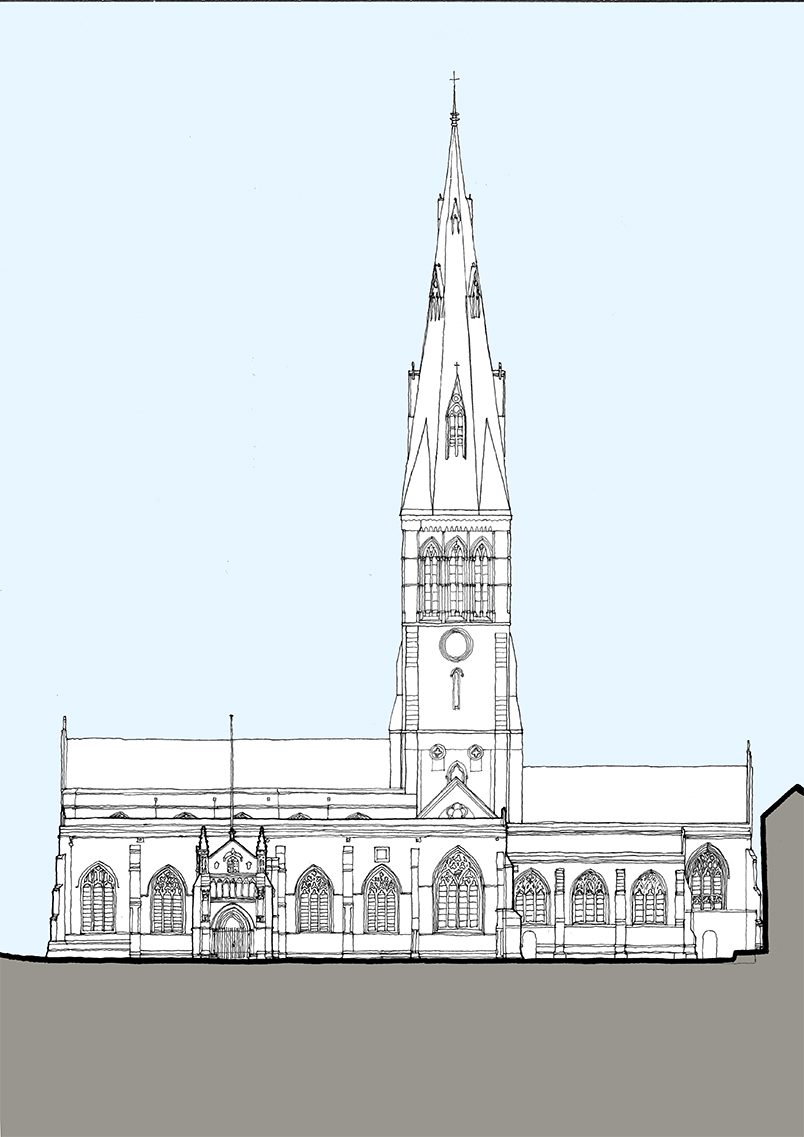 1828_Leicester cath_Cathedral elevation_south_S